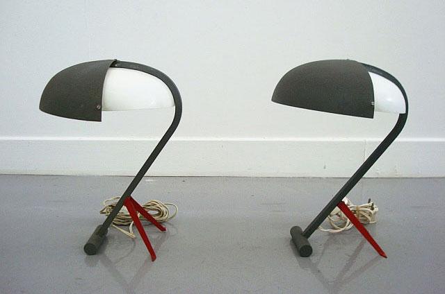 Lampen model NX110 van Louis Kalff voor Philips 1952. Te koop bij Destijds Design, € 1800 per 2 stuks